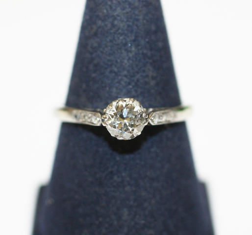 A diamond single stone ring,