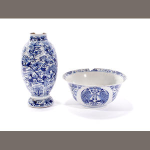 A Chinese blue and white bowl and a vase, Kangxi period