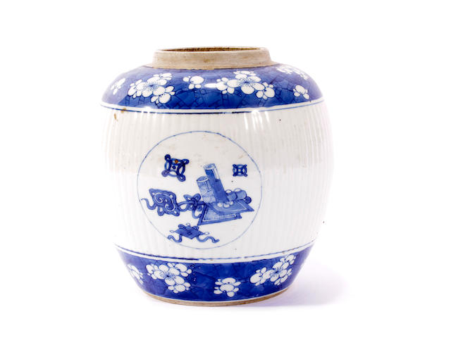 A Chinese blue and white jar, Kangxi period