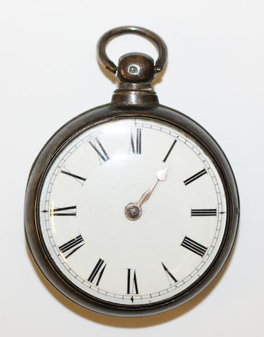 A silver pair cased pocket watch,