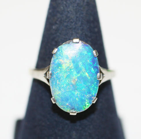 Opal doublet single stone ring
