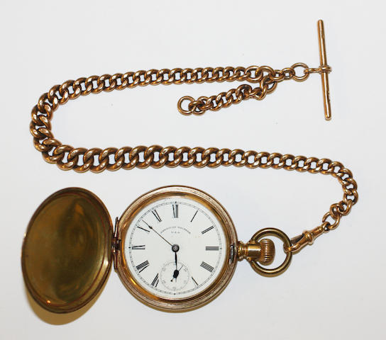 A 9ct gold Albert chain and a gilt metal hunter pocket watch, by Waltham  (2)