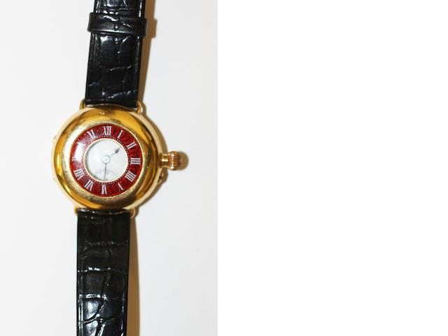 An 18ct gold half hunter watch,