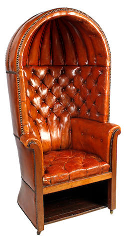 An antique hall porter's chair