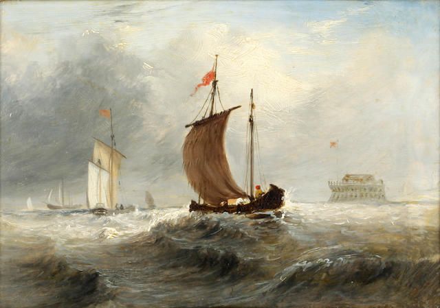 Attributed to Charles Bentley (British, 1806-1854) 'Fishing Boat at Sea'
