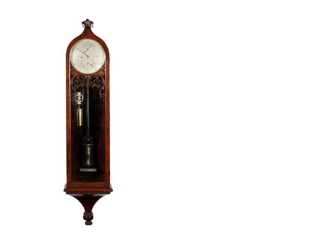 A good mid 19th century walnut wall regulator with mercury jar pendulum Bennett late Simmons