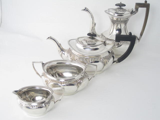 A four piece Victorian silver tea service Sheffield 1897