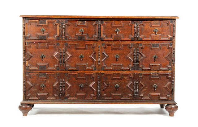 An oak chest Constructed from some 18th century timbers in the late 17th century manner