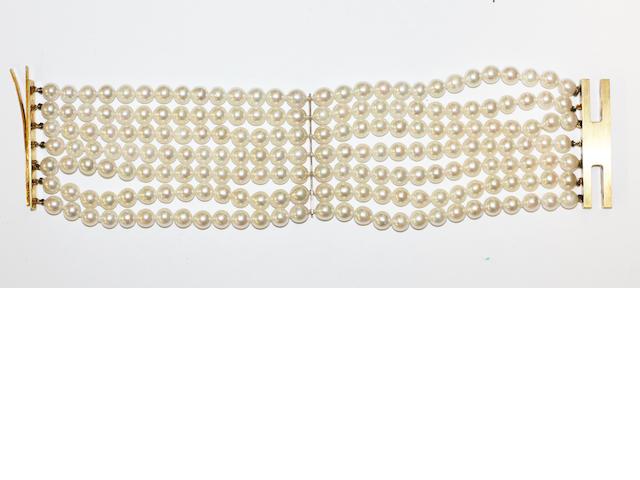 Mikimoto: A cultured pearl multi-strand bracelet,