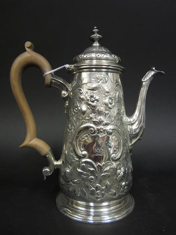 A George II silver coffee pot probably Richard Bayley, London 1745