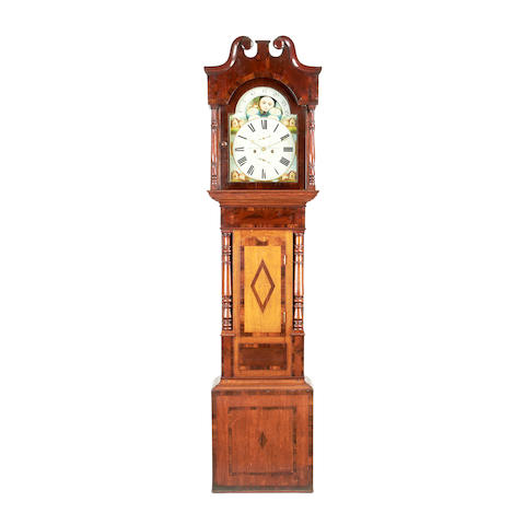 An early 19th century mahogany crossbanded oak longcase clock with moonphase Thomas Evans Llandeussant