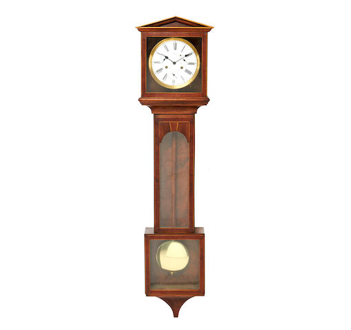 A mahogany and boxwood strung Landeluhr clock by Hermle