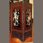 A Japanese export lacquer and bone-applied two-fold screen