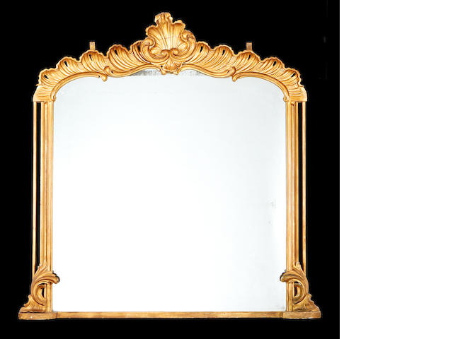 A late 19th century giltwood overmantel mirror