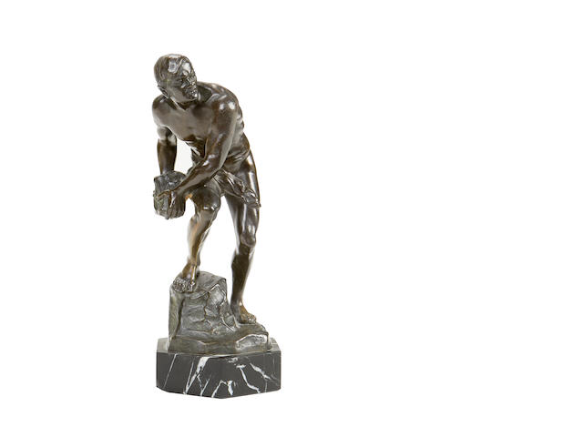 An early 20th century German bronze figure of a slave