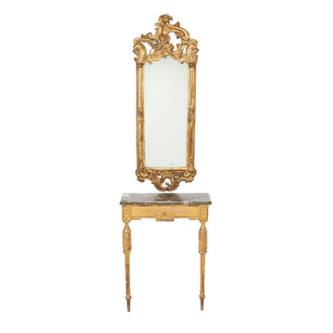 A mid Victorian giltwood mirror together with a small Louis XVI style giltwood console table