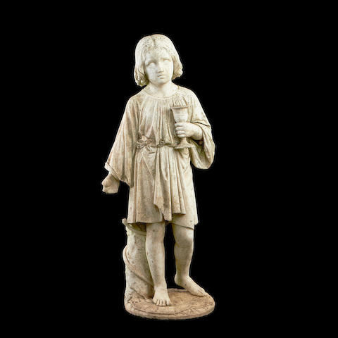 Pasquale Romanelli, Italian (1812-1887) A marble figure of a child holding a chalice