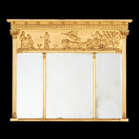 A 19th century giltwood overmantel marginal mirror in the Regency style