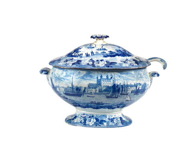 A 19th century Wedgwood transfer decorated soup tureen and ladle