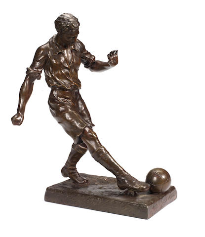A large copper-clad figure of a footballer,  20th century,