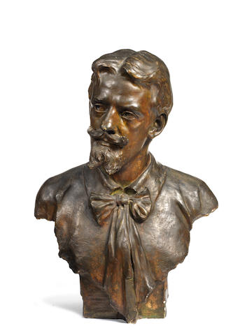 A painted plaster bust of a gentleman, signed J E Morfield 1906,