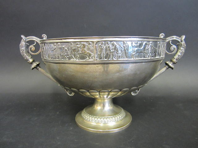 A Victorian silver two-handled pedestal bowl by Frederick Elkington, Birmingham 1888