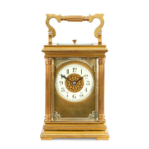 A late 19th / early 20th century French brass carriage clock with repeat