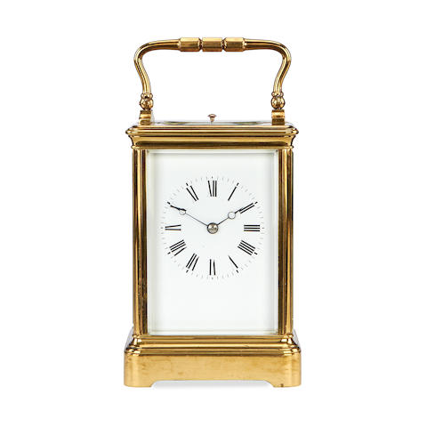 A late 19th century French brass carriage clock with repeat by Margaine