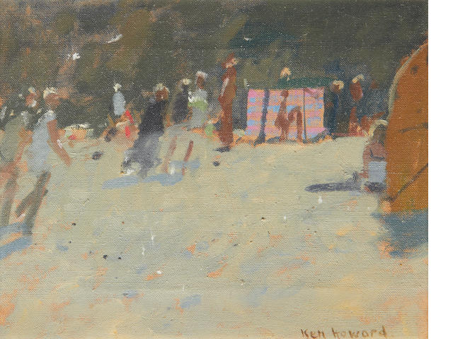 Ken Howard R.A. (British, born 1932) Beach scene with windbreak