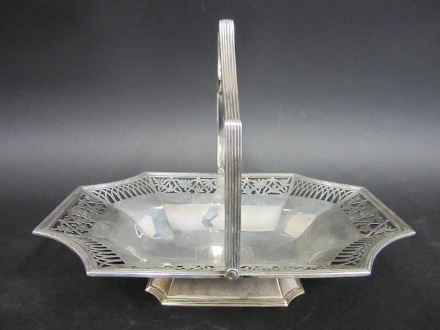 A Victorian silver pierced swing-handle basket by Thomas Bradbury & Sons, London 1899,