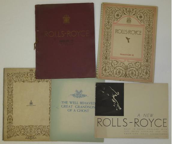 Five pre-War sales brochures for Rolls-Royce,