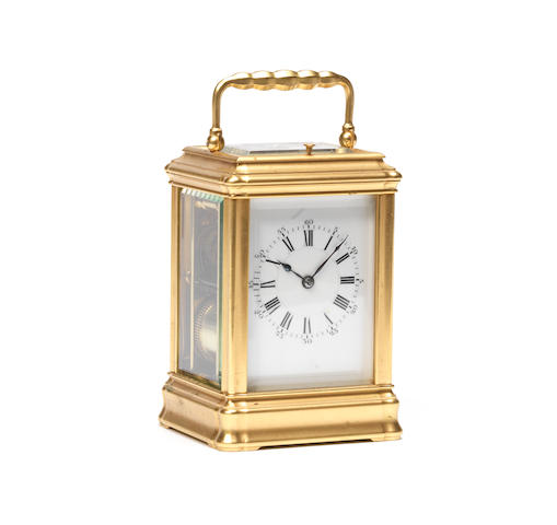 A late 19th century French gilt brass carriage clock with repeat Henri Jacot