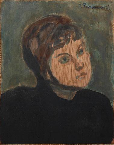 Zdzislaw Ruszkowski (Polish, 1907-1991)Portrait of a Girlsigned oil on board 17.5 x 14cm (6 7/8 x 5 1/2in).