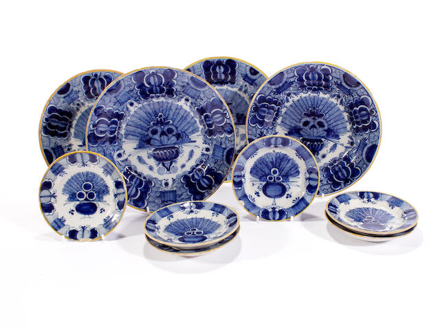 A group of ten Dutch Delft plates, 18th century