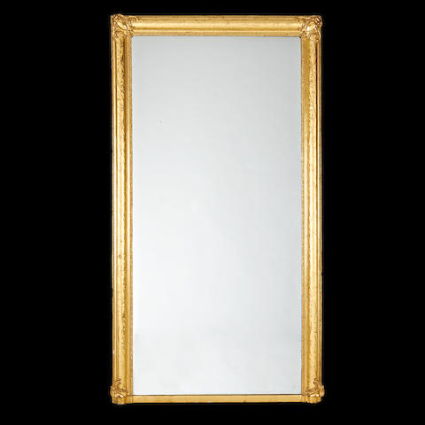A large French early 20th century giltwood overmantel mirror