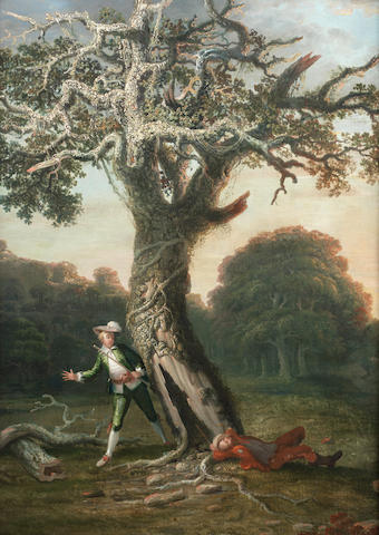 English School, 18th Century Figures beneath a tree