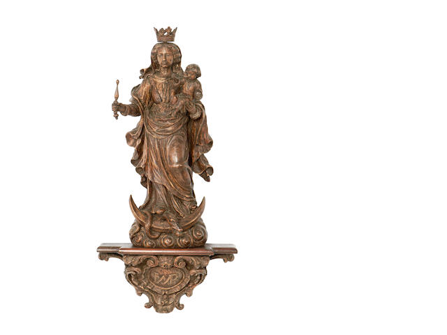 A late Medieval style carved oak figure of the Virgin and Child probably 19th century