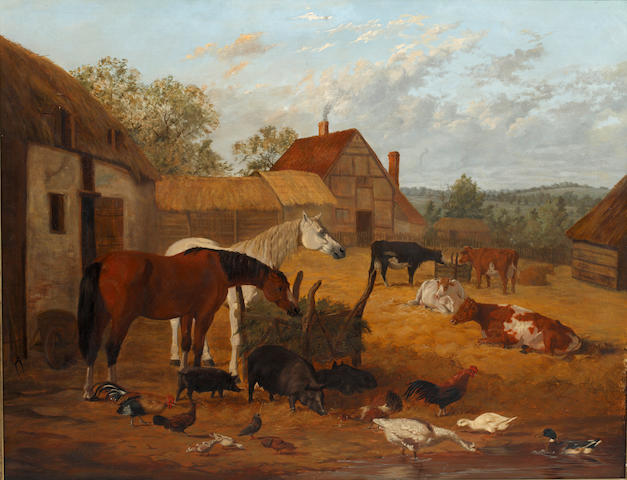 Circle of John Frederick Herring, Jnr. (British, 1815-1907) Farmyard