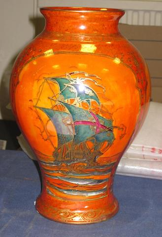 A Royal Worcester Crown Ware orange lustre baluster vase dated 1926