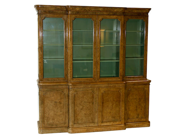 A good Victorian, bleached walnut, breakfront bookcase