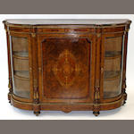 A Victorian figured walnut and gilt metal mounted credenza
