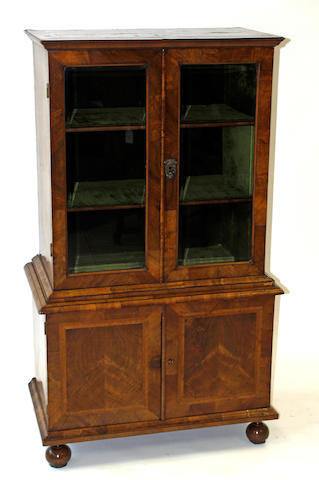 A Queen Anne walnut cabinet/cupboard