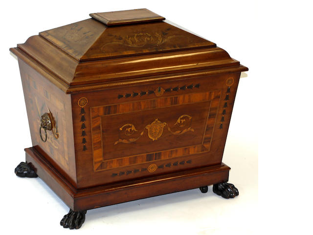A Victorian, Regency style, sarcophagus form mahogany and marquetry wine cooler, possibly Irish