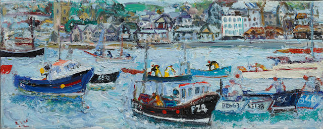 Linda Weir (British, born 1951) Black Boats, High Tide, St. Ives
