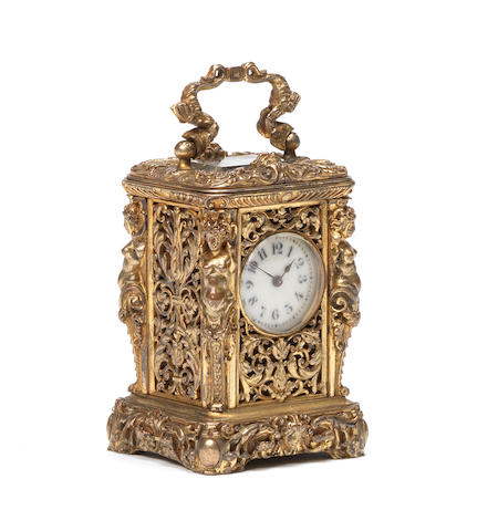 A late 19th century French gilt brass cariatides miniature carriage timepiece.