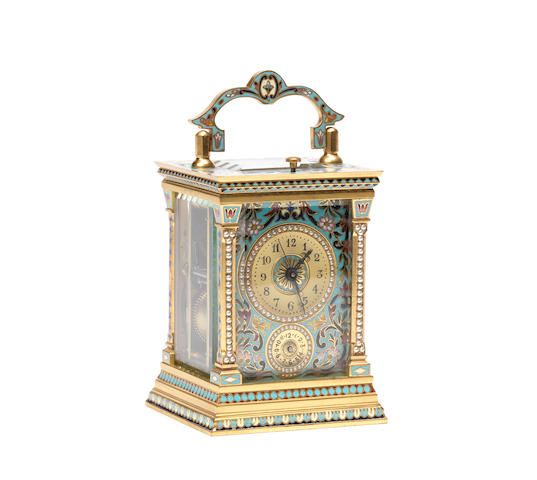 A late 19th century French champleve enamel and split seed pearl striking carriage clock with centre seconds.