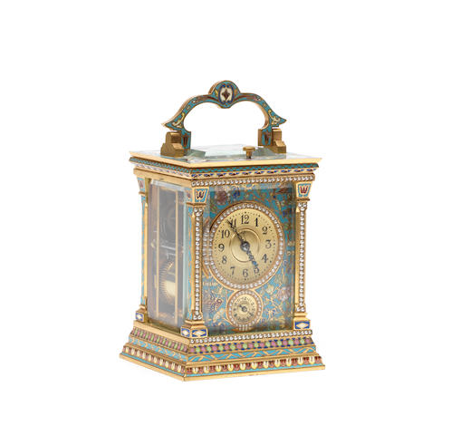 A late 19th century champleve enamel and split seed pearl decorated centre seconds carriage clock