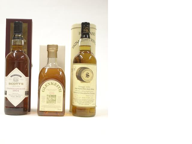 Glenglassaugh-1974<BR /> Glen Keith-Pre 1983<BR /> Glenallachie-9 year old-1991