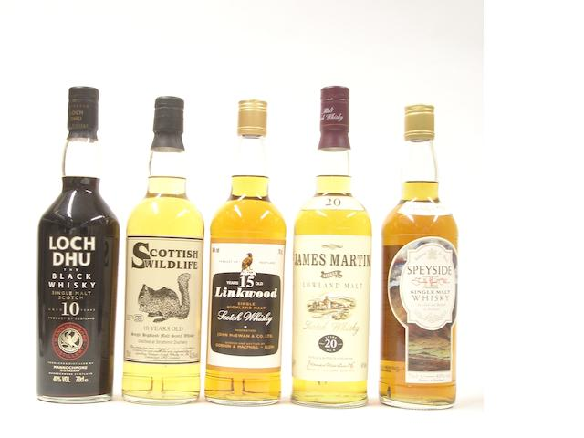Loch Dhu-10 year old<BR /> Strathmill-10 year old<BR /> Linkwood-15 year old<BR /> James Martin's Lowland Malt-20 year old<BR /> Speyside-12 year old