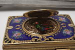A enamel and gilt metal singing bird music box 20th century